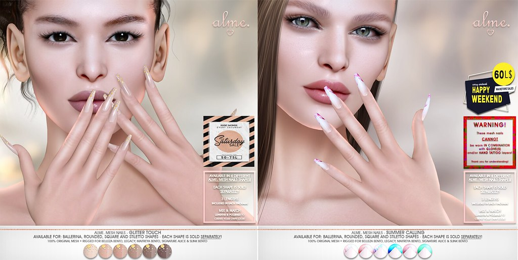 "ALME Weekend Sales – ""Alme Mesh Nails// Glitter Touch & Summer Calling"" in 4 shapes!"