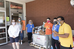 GWIM board member Diane Bearce, State Rep. Stephanie Cummings, ShopRite Community Liaison MaryLou Grendziszewski, ShopRite store dieticians Lauren Hassan and Jessica Dorner, and volunteer Francisco Ramos collected donations for GWIM during a food drive.