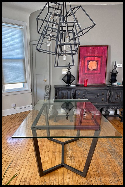 MODERN STEEL DINING TABLE BASE- for a HomeOwner using her Glass Top