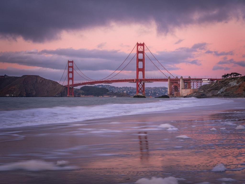 San Francisco Golden Gate Bridge Sunset Baker Beach Reflec Flickr