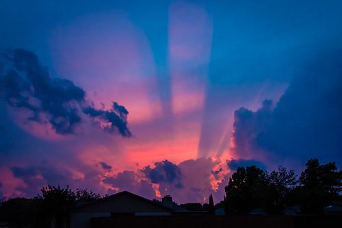 sunset crepuscular crepuscularrays clouds sky light salmon blue pentax pentaxkp
