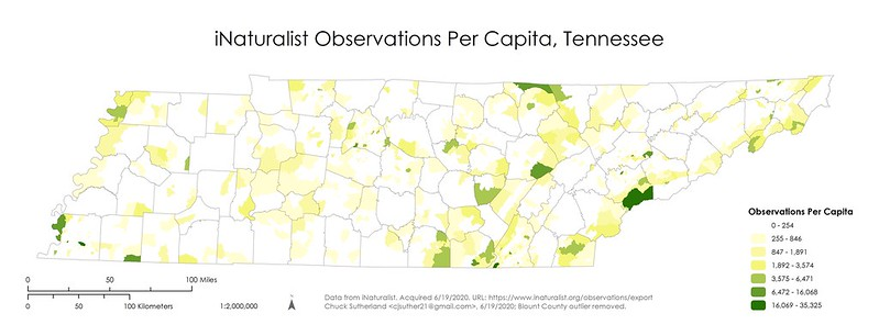 iNaturalist Observations Per Capita in Tennessee