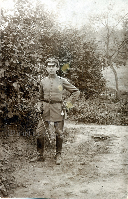 Infantry Officer with regimental cypher on his sidearm