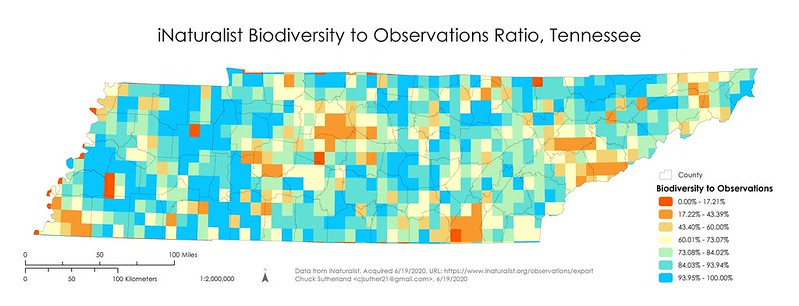 iNaturalist Biodiversity to Observations Ratio in Tennessee
