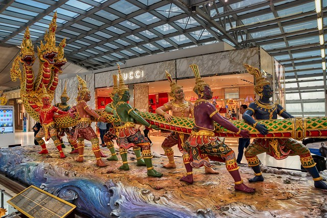Sculpture in Suvarnabhumi airport, Thailand, depicting the Churning of the Ocean of Milk from Hindu mythology