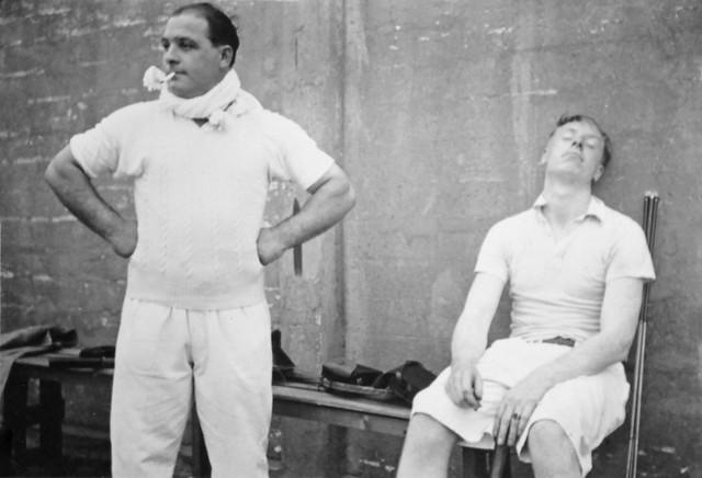 David van Gelderen and a friend after a tennis match