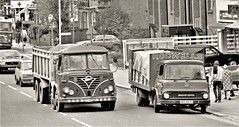 Lost-Albion posted a photo:Trucks passing along High Street North in Dunstable as viewed from our bedroon window in May 1983. The Rodwells Bedford TK, HRO957V was taxed from 8/79 until 8/92, whilst the sand-carrying Foden, ECV805K, was active between 7/72 and 6/83, thus almost at the end of it's life.Pentax SP1000/200mmIlford FP4