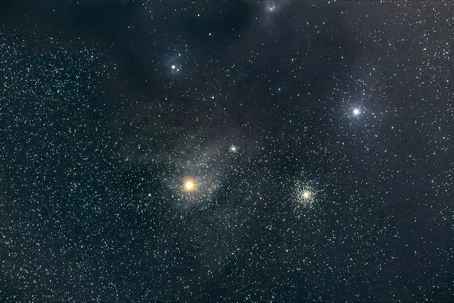 Antares and some globular star clusters