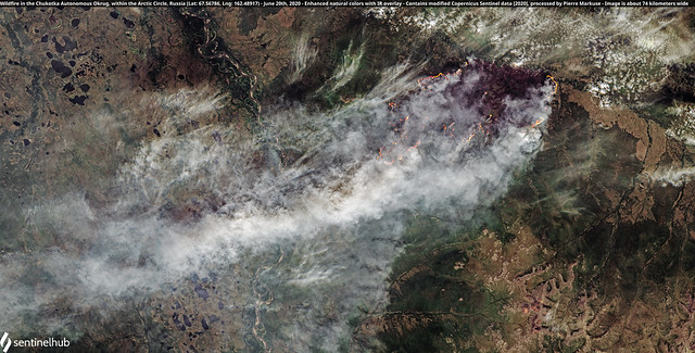 Wildfire in the Chukotka Autonomous Okrug, within the Arctic Circle, Russia (Lat: 67.56786, Lng: 162.48917) - June 20th, 2020