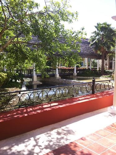Plant beds along decorative pools, Valentin Imperial Riviera Maya, Mexico