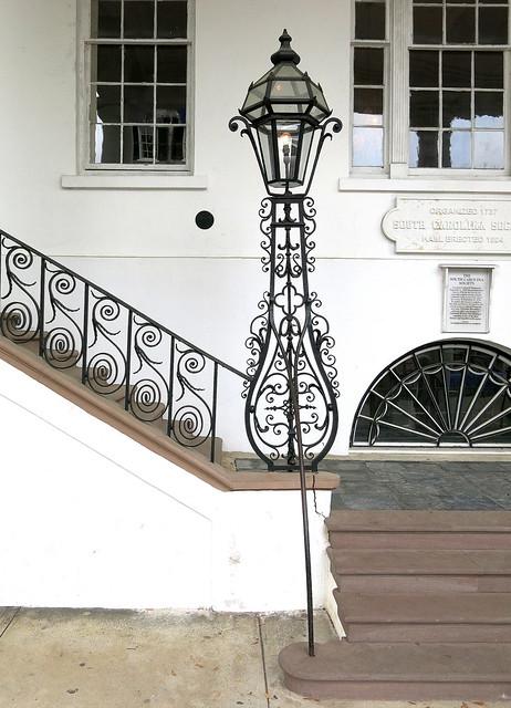 The portico steps and ironwork (1825), South Carolina Society Hall, Meeting Street, Charleston, SC