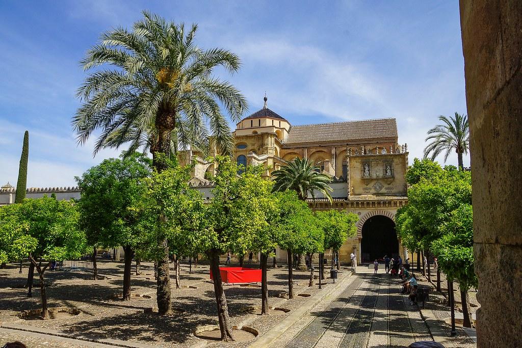 The entrance to the Mezquita through the orange trees courtyard