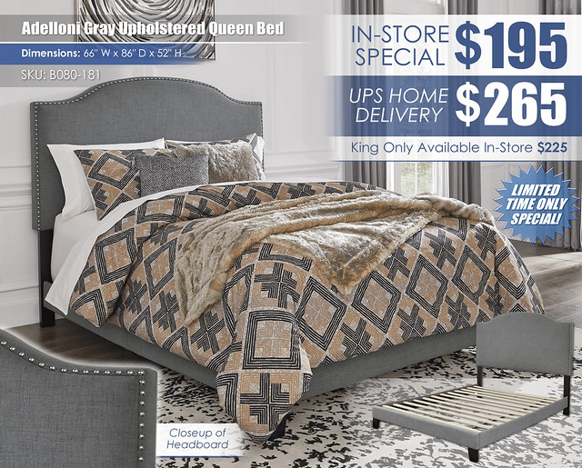 Adelloni Gray Upholstered Bed Special_B080-181_New