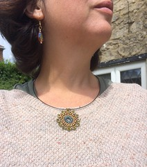 Superduo Mandala Pendant and earrings I made