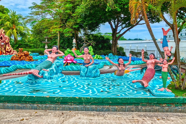 Diorama of a Chinese mermaid fantasy at Haw Par Villa in Singapore