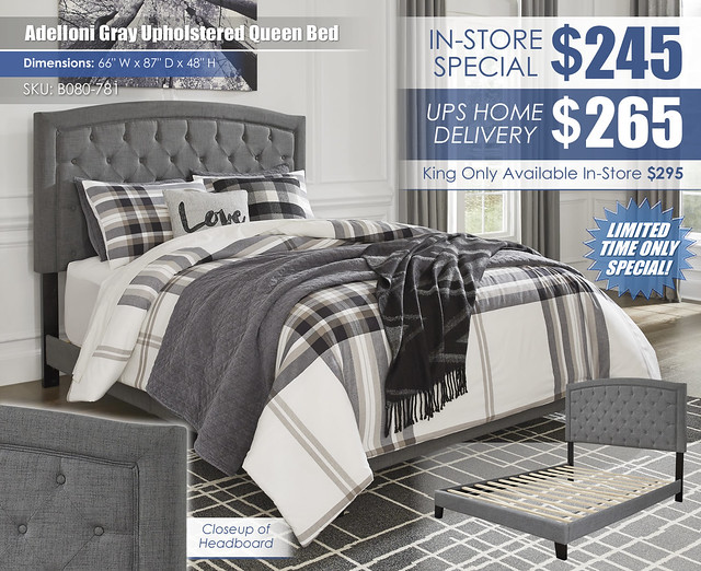 Adeloni Gray Upholstered Queen Bed_B080-781_New