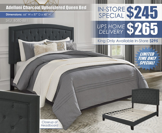 Adelloni Charcoal Upholstered Queen Bed_B080-881_New