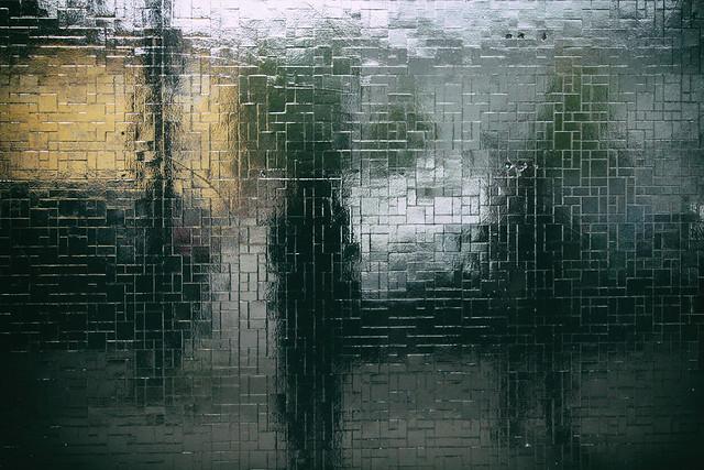 reflection in black tiles