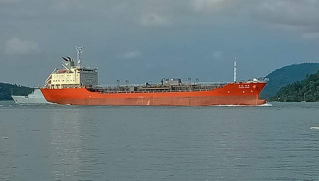 Big tanker going past