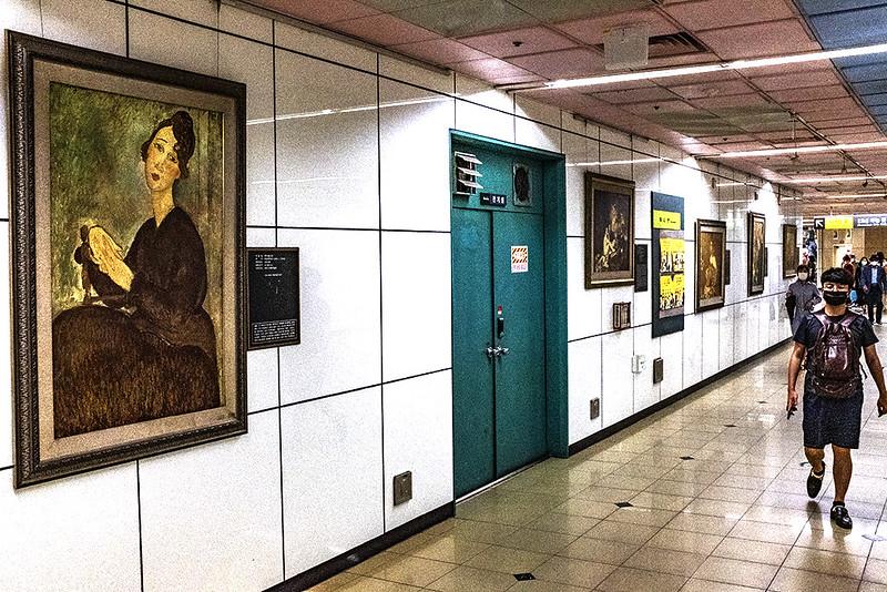 Reproduction of Modigliani inside Seomyeon Station--Busan