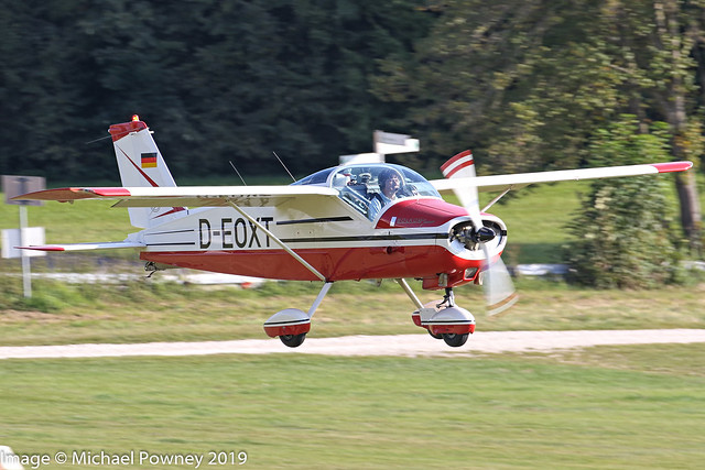 D-EOXT - 1965 build Bolkow Bo208C Junior, arriving at Hahnweide during OTT19