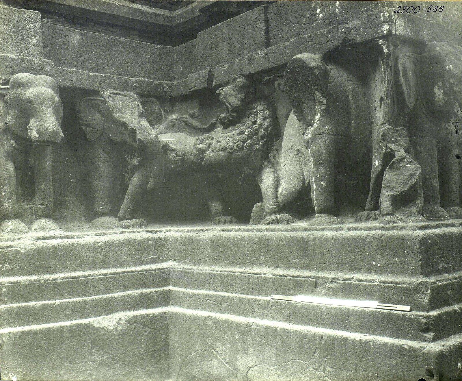 Храм Кайласа в Эллоре (деталь рельефа со слонами и львами) (15)