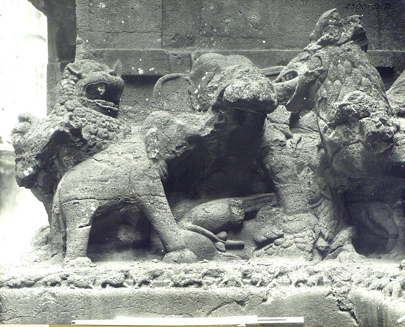 Храм Кайласа в Эллоре (деталь рельефа со слонами и львами) (4)