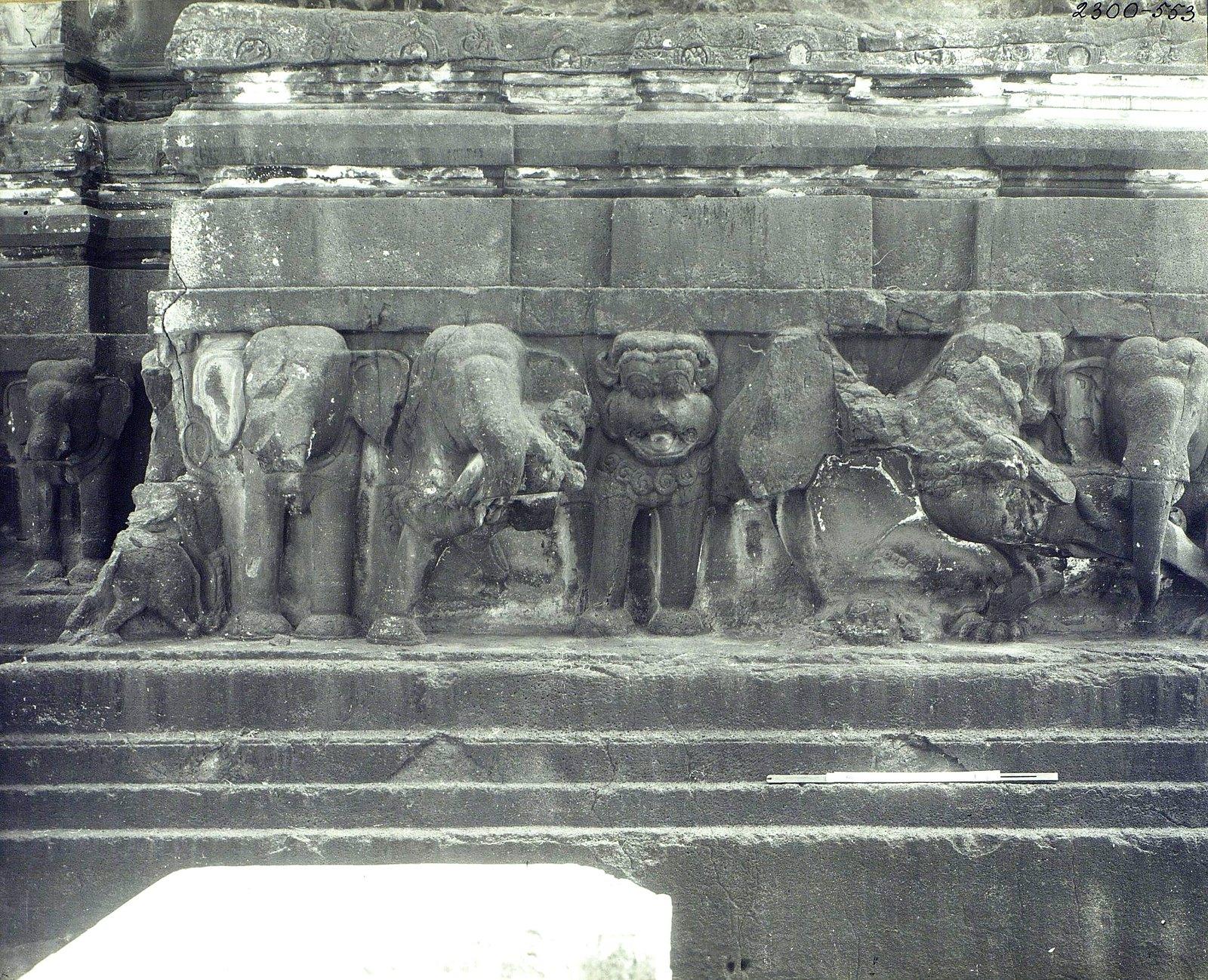 Храм Кайласа в Эллоре (деталь рельефа со слонами и львами) (2)