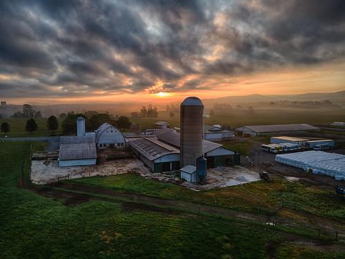 andrew aga aliferis morning sunrise dairy farm layered fog mist fields hdri highdynamicrangeimage tonemapped