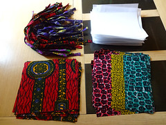 Mask pieces and ties ready for sewing