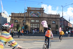 Passing intersection blockade at Queen Victoria market - Extinction Rebellion Bike Bloc 5 - IMG_7755