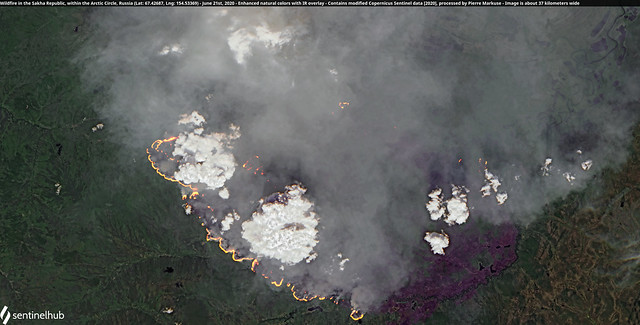 Wildfire in the Sakha Republic, within the Arctic Circle, Russia (Lat: 67.42687, Lng: 154.53369) - June 21st, 2020