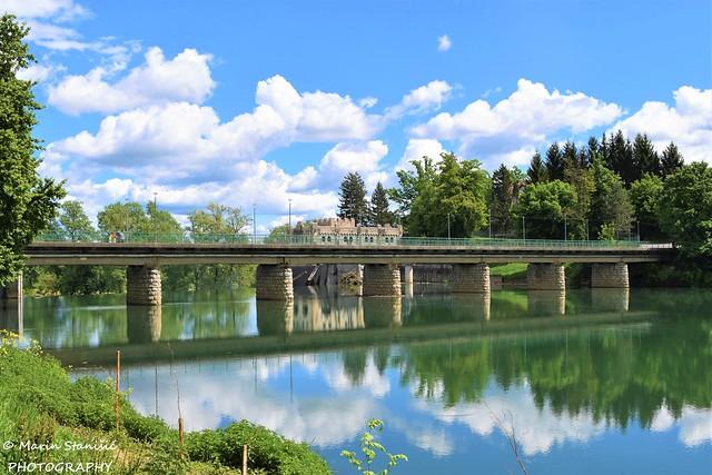 Ozalj, Croatia - Bridge reflections in river Kupa...