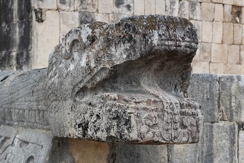 Weathering of a serpents head, Chichen Itza, Mexico's Yucatán Peninsula