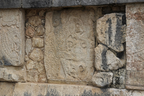 Carvings on the platform of the eagles and jaguars, Chichen Itza, Mexico's Yucatán Peninsula