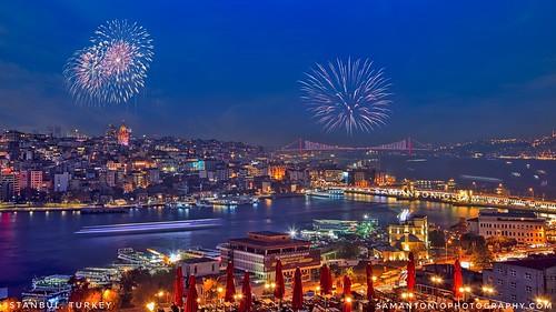istanbul turkey bosphorus night skyline city water galatatower boats fromabove travel europe asia fireworks celebration cityscape citylife travelphotography traveldestinations