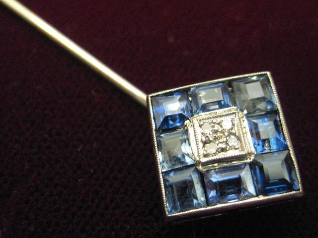 A Sparkling Sapphire Stick Pin
