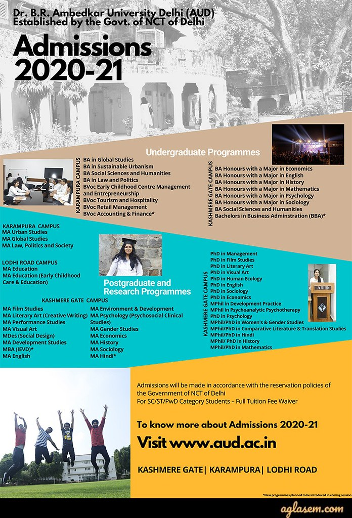 Ambedkar University 2020 Admission Poster