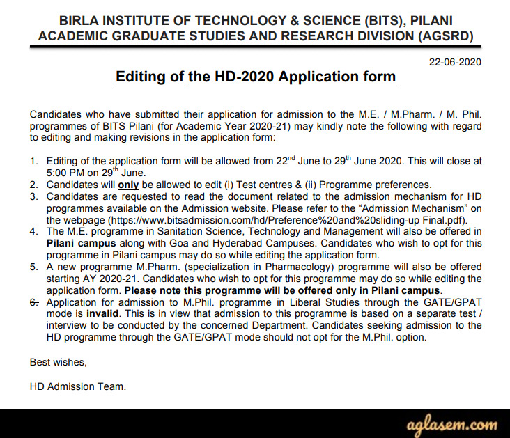 BITS ME Admission 2020 (HD) - Iteration-1 Result (Out), Admit Card (Available), New Exam Date, Syllabus
