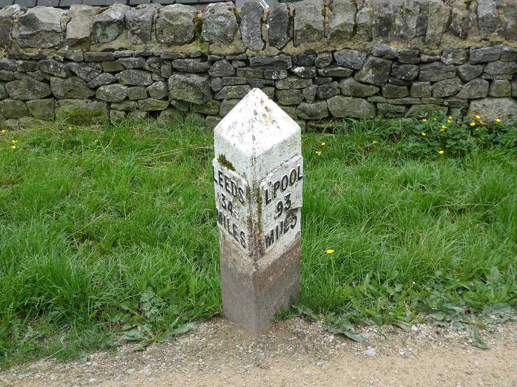 Canal side Milestone at Gargrave