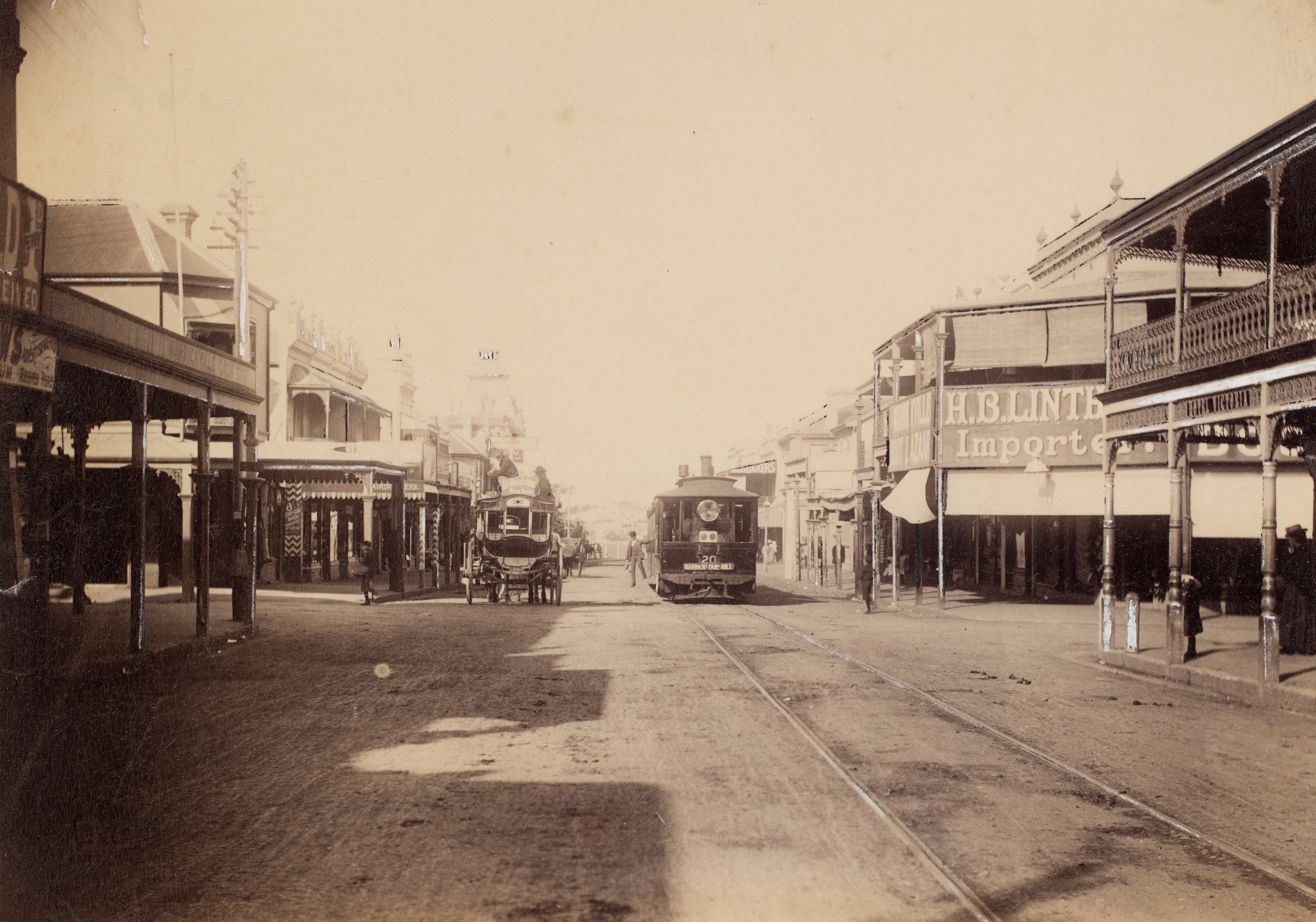 Baldwin Steam Tram, Marrickville Tram Terminus, c.1889, by John Rae