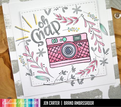 Jen Carter Oh Snap Camera Floral Swatch Pink Closeup