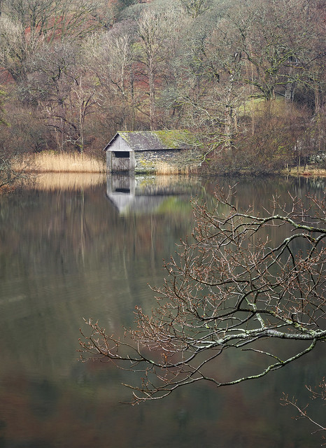 Boathouse on Rydal Water, Lake District National Park, Cumbria, UK