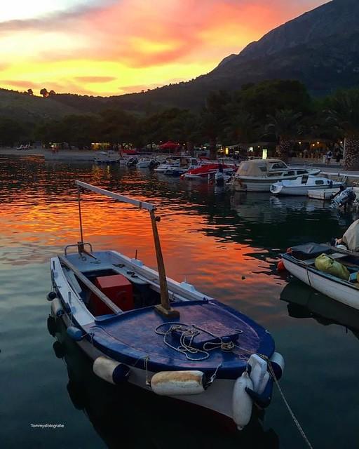 Tourist are back again, sunset in Zivogosce, Croatia