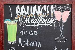 Brunch, hand-drawn signboard (detail), Uncle Jack's Meat House, Astoria, Queens