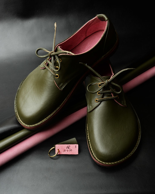 Olive Green Shoes in Italian soft leather and fully lined in Bubble Gum Pink Suede. Signed & dated 21.6.20. New Moon in Cancer.