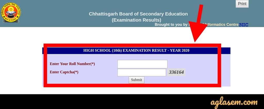 CG Board 10th result 2020 login