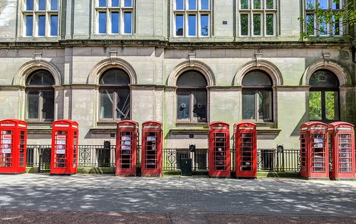 Row of red call boxes in Preston | by Tony Worrall