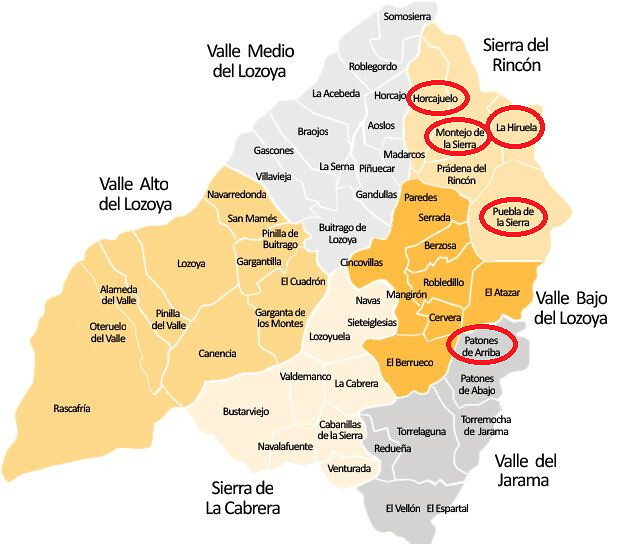 Mapa de la Sierra Norte de Madrid (Ruta de los pueblos negros de Madrid)