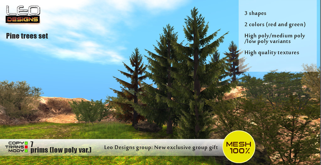 Leo Designs: new exclusive group gift – Pine tree set
